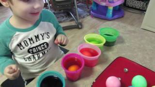 Coloring Easter Eggs with Daddy
