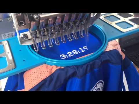 Stitching of race times on the Boston Marathon jacket