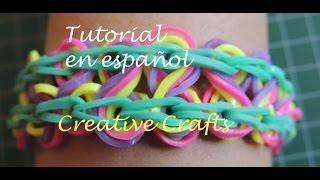 Repeat youtube video Tutorial Pulsera de gomitas Rainbow Loom Taffy Twist en español