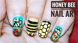 HONEY BEE NAIL ART TUTORIAL || Freehand || Nail Beats