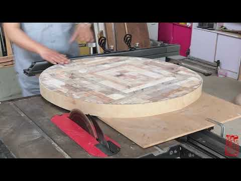 Round table made of various wood(Using Clear Epoxy Resin and Square wooden block)