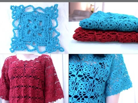 Crochet Stitches Granny Square Youtube : Crochet Granny Square top part 1 of 2 (Granny Square Pattern #5 ...