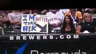 Front Row Amy sign - ROOT Sports - Pittsburgh Pirates @ Milwaukee Brewers Miller Park - 8/22/14