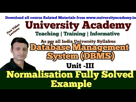 DBMS14: Normalization Example In DBMS|1NF| 2NF | 3NF| BCNF ...