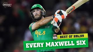 Max power - Every one of Glenn Maxwell's sixes | KFC BBL|09