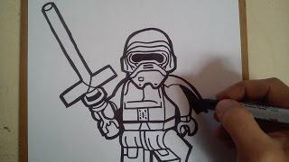 """Como dibujar a Kylo Ren """"lego"""" / HOW TO DRAW A KYLO REN """"LEGO"""""""