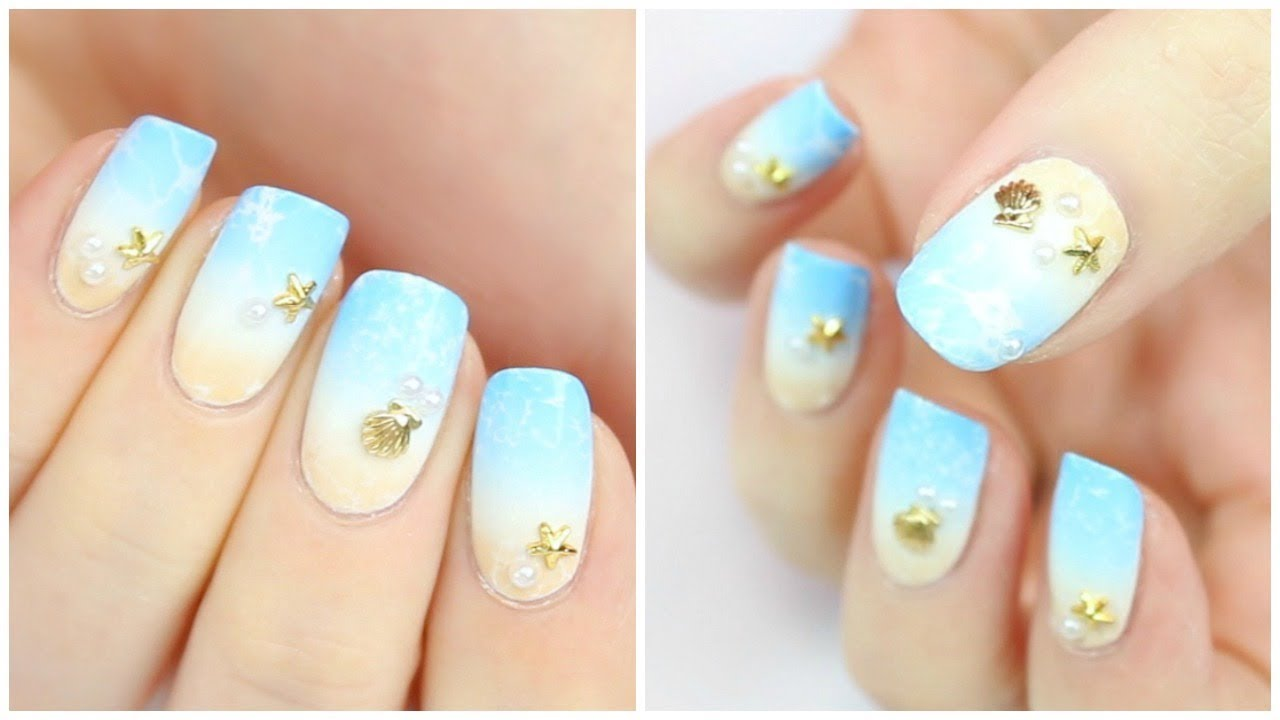 Easy Summer Beach Nail Art! - Easy Summer Beach Nail Art! - YouTube