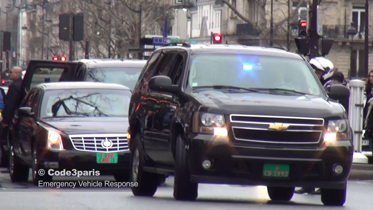 American Embassy Motorcade VIP Paris - YouTube