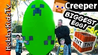 Worlds BIGGEST Minecraft CREEPER Surprise Egg! Toys + Play-Doh Giant TNT Explosion HobbyKidsTV