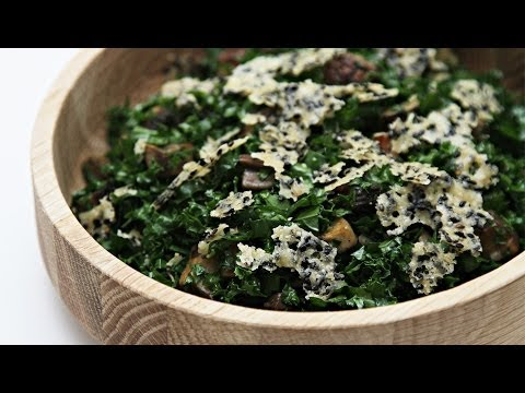 Kale Chopped Salad With Pan-Roasted Portobello and Parmesan-Sesame Crisps | HuffPost Life