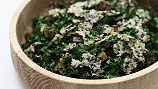 Kale Chopped Salad With Pan Roasted Portobello And Parmesan Sesame Crisps