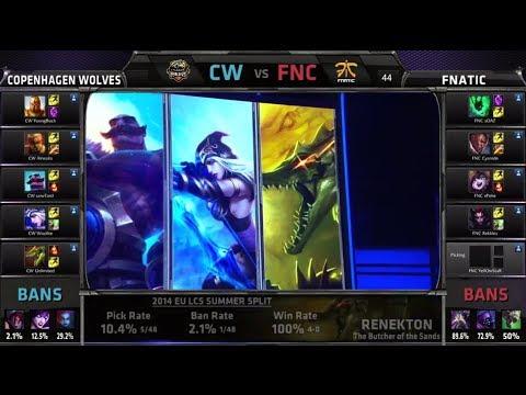 Copenhagen Wolves vs Fnatic | S4 EU LCS Summer 2014 Week 6 Day 1 | CW vs FNC W6D1 G1