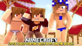 LITTLE CARLY FLIRTING WITH BOYS ON THE BEACH!!! - Minecraft Little Club Adventures