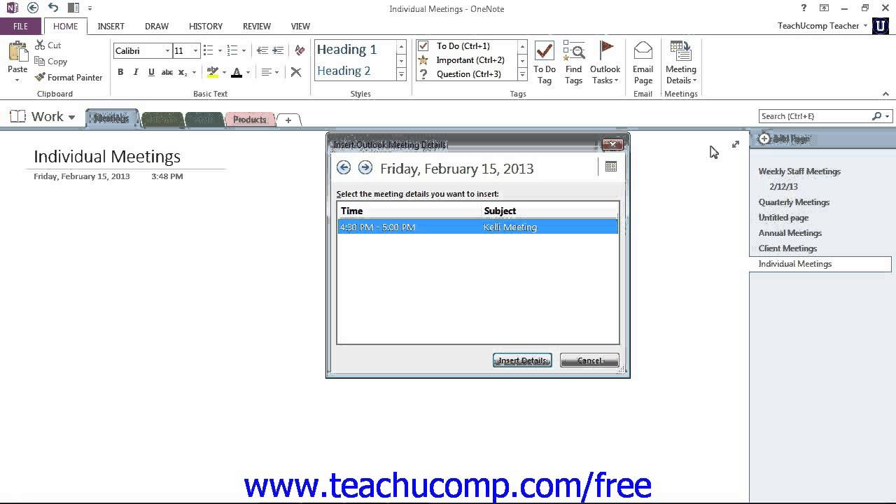 OneNote 2013 Tutorial Inserting Outlook Meetings Microsoft Training Lesson  5 1