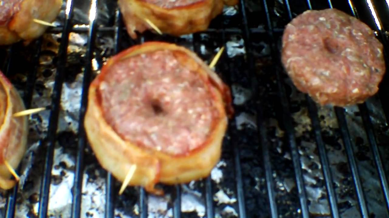 Traeger Bacon Wrapped Burgers - YouTube