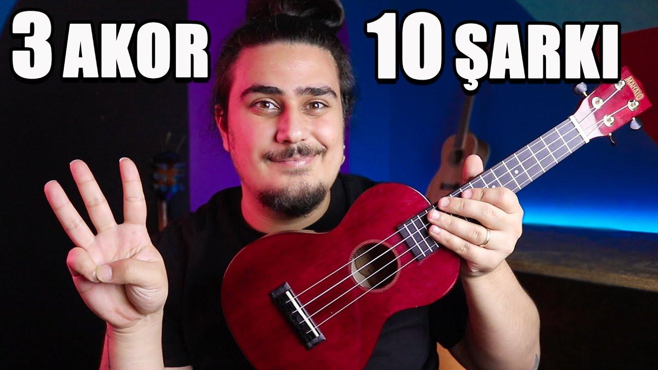 3 Kolay Akor, 10 Şarkı (Kolay Ukulele Şarkıları) Ukulele Dersleri 1