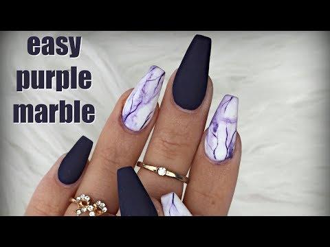 PURPLE MATTE MARBLE NAILS 💜