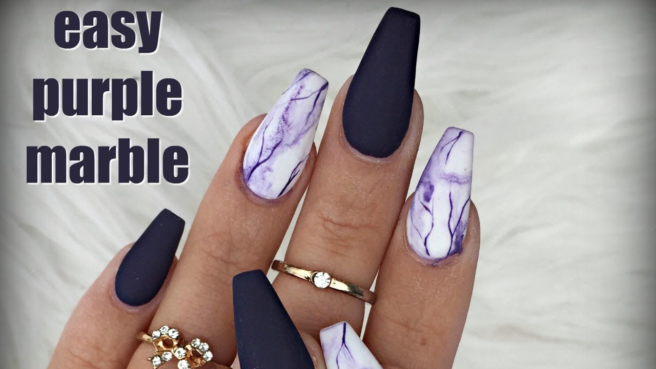 PURPLE MATTE MARBLE NAILS 💜 - YouTube