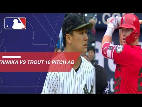 Masahiro Tanaka strikes out Mike Trout after 10-pitch at-bat