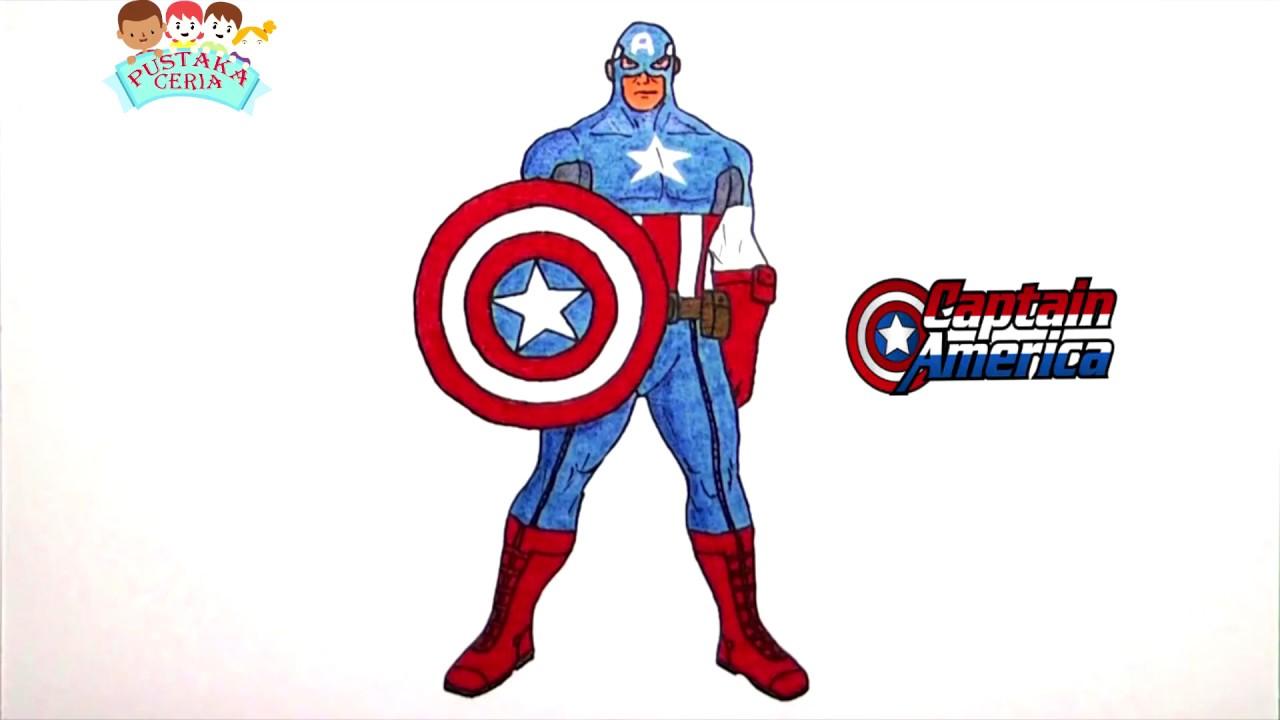cara menggambar mewarnai captain america