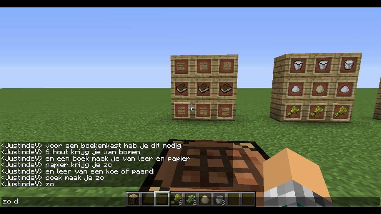 hoe maak je een boekenkast en een taart minecraft