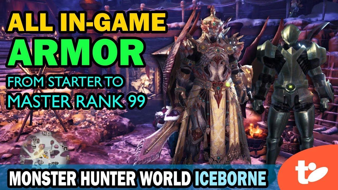 Coloring All Male Armor Through Master Rank 99 Monster Hunter World Iceborne Youtube