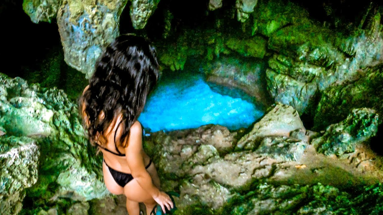 Swimming in Underground Tide Pool - Rock Fishing is Dangerous - Surfing on a Tropical Island