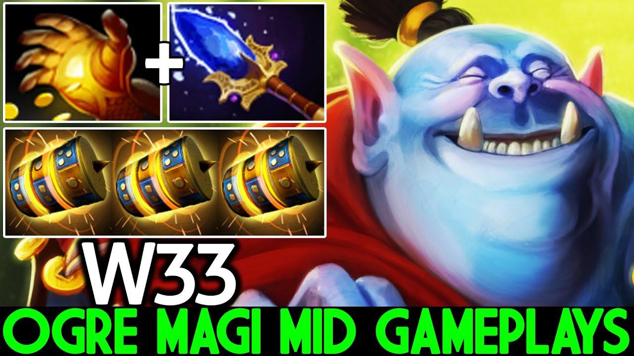 W33 [Ogre Magi] WTF Ogre Mid First Item Midas Scepter Pro Plays Dota 2