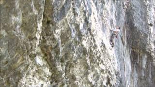 Buster Martin climbing Bat Route, 8c, Malham