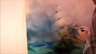 Oil painting  Seascape with sailboat Part 1