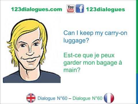 Dialogue 60- English French Anglais Français - Airport Check In - Enregistrement à L'aéroport
