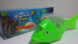 Battery Operated Electric Fish Toy with 3D Light and Music for Kids.