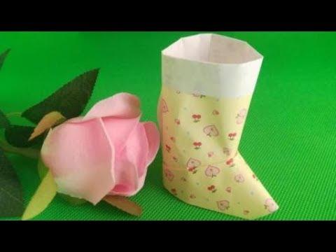 Origami Christmas Stocking/Santa Boot | DIY paper crafts