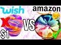 $1 WISH SLIME VS $1 AMAZON SLIME! Which is Worth it?