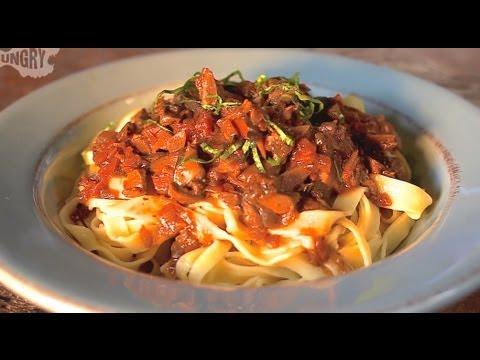 Vegan Recipe: Homemade Pasta with Wild Mushroom Tomato Sauce