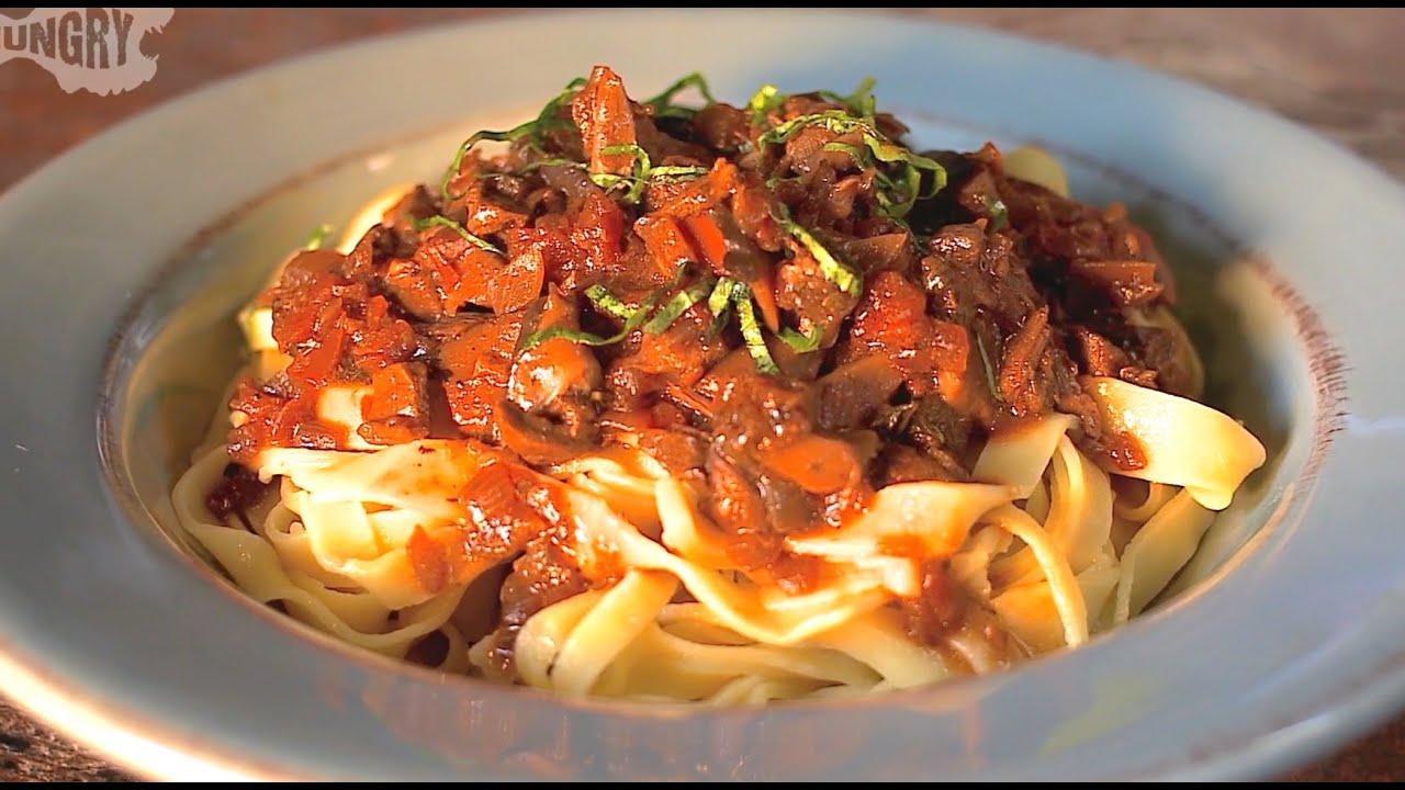 Vegan Recipe Homemade Pasta With Wild Mushroom Tomato Sauce