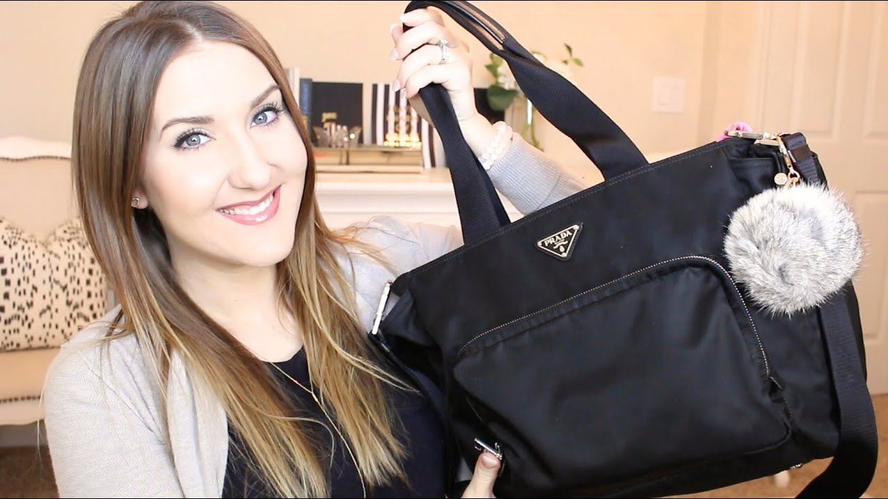 ae93b2691377 What's In My Diaper Bag | Prada Baby Bag - YouTube