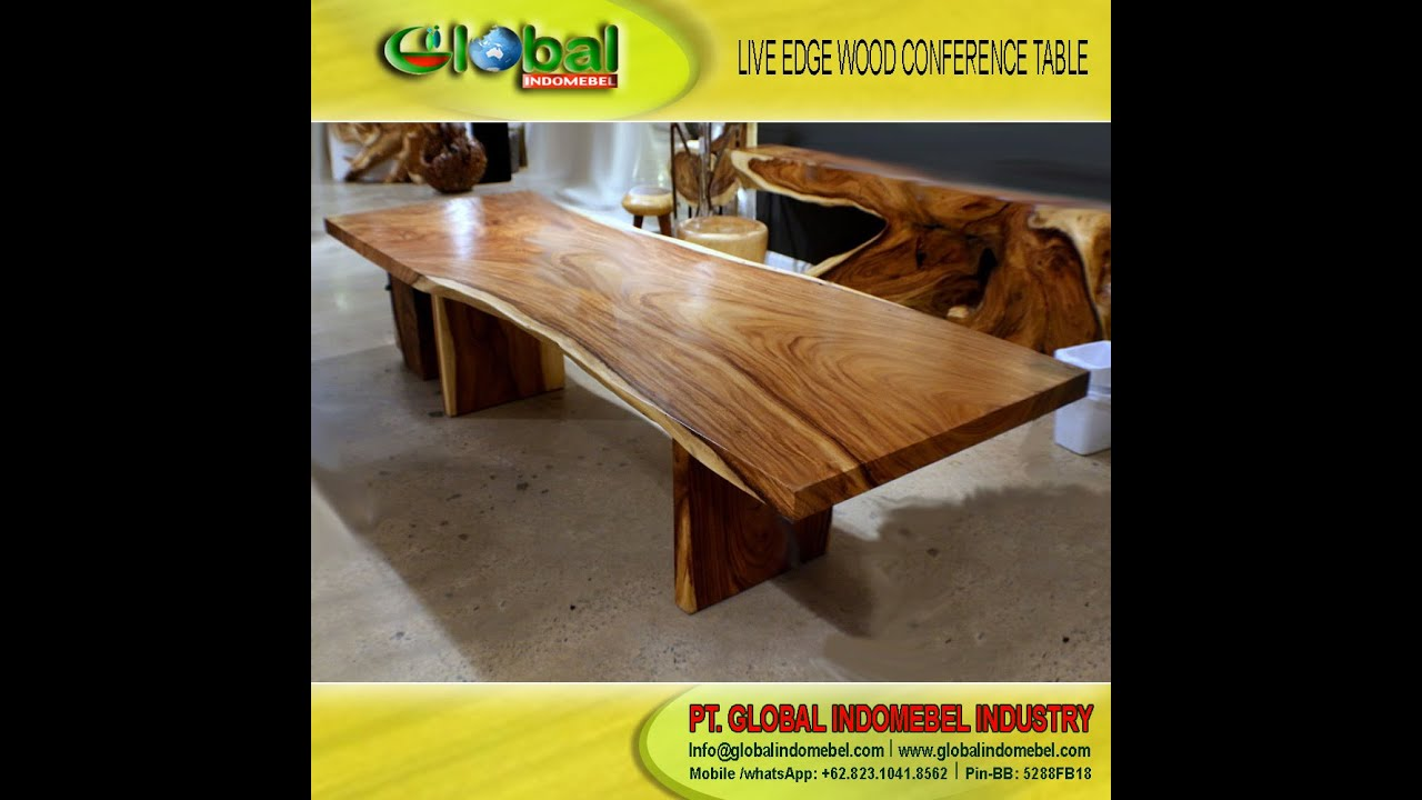 EXOTIC LIVE EDGE ACACIA WOOD TABLE SLAB, CONFERENCE TABLE, DINING TABLE,  COFFE TABLE TABLE SLAB   YouTube
