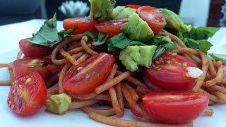 Vegan Caprese Whole Wheat Spaghetti