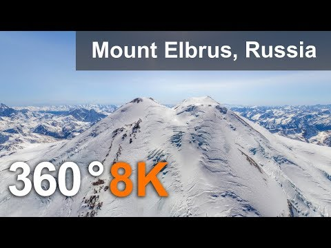 360°, Mount Elbrus, Russia. 8K aerial video