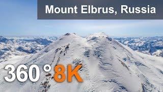 360°, Mount Elbrus, Russia. 8K aerial video thumbnail