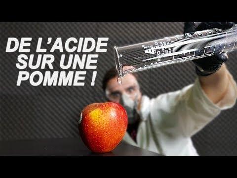 DE L'ACIDE SUR UNE POMME ? Will it dissolve