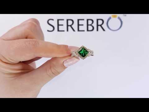 Серебряное кольцо с изумрудом нано Марс ПДК59НИ