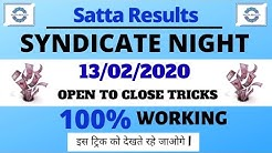 Syndicate Night Today Live | 13/02/2020 Syndicate Night Result | Satta Results Guessing Satta Matka