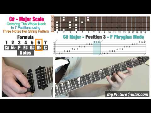 Guitar Lesson: C# Major (Bb minor) Scale in 7 Position/modes w/ Animation & TAB
