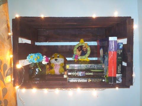 DIY Wood Crate Shelf   Room Decor   Book shelf   Handmade home decor