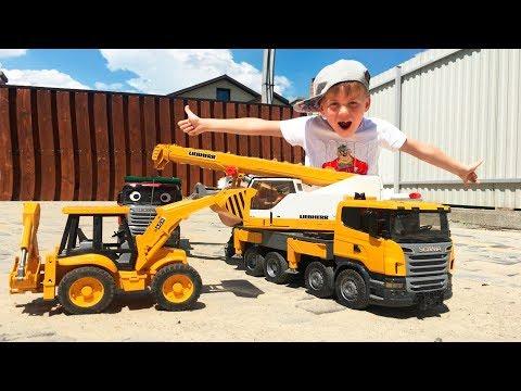 Грузовик с песком Перевернулся Экскаватор и Кран #BRUDER помогают #Машинки для мальчиков