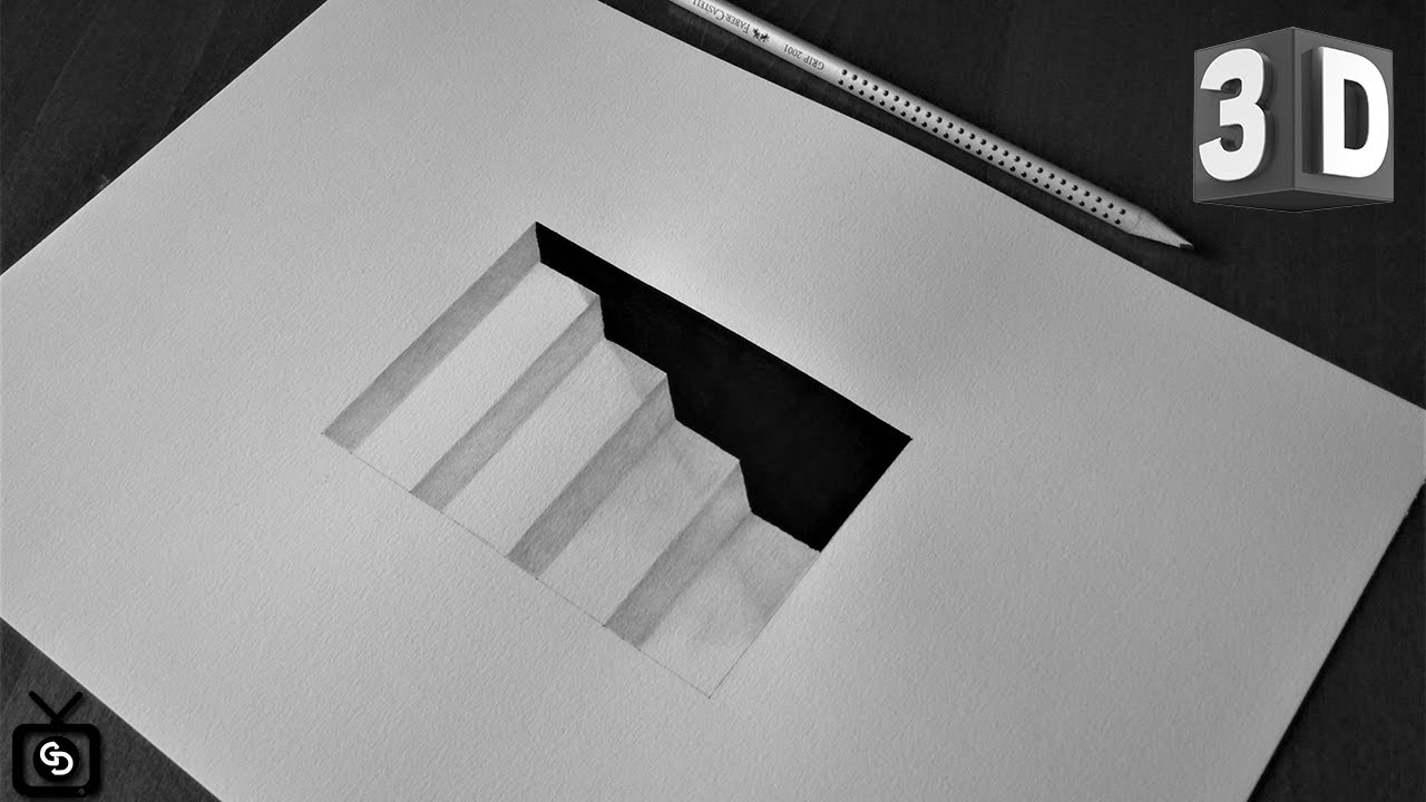 illusion optical stairs draw 3d easy very