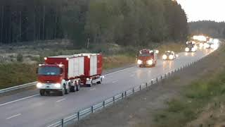 Polish firefighters travelling thru Sweden to fight wildfires up north july 21 2018