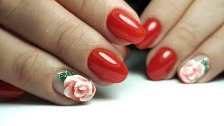 РОЗА на ногтях ПОШАГОВО КРАСИВЫЙ маникюр КРАСНЫЙ маникюр Дизайн ногтей гель лаком